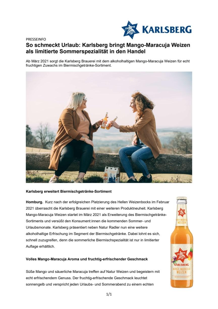 So schmeckt Urlaub: Karlsberg bringt Mango-Maracuja Weizen als limitierte Sommerspezialität in den Handel
