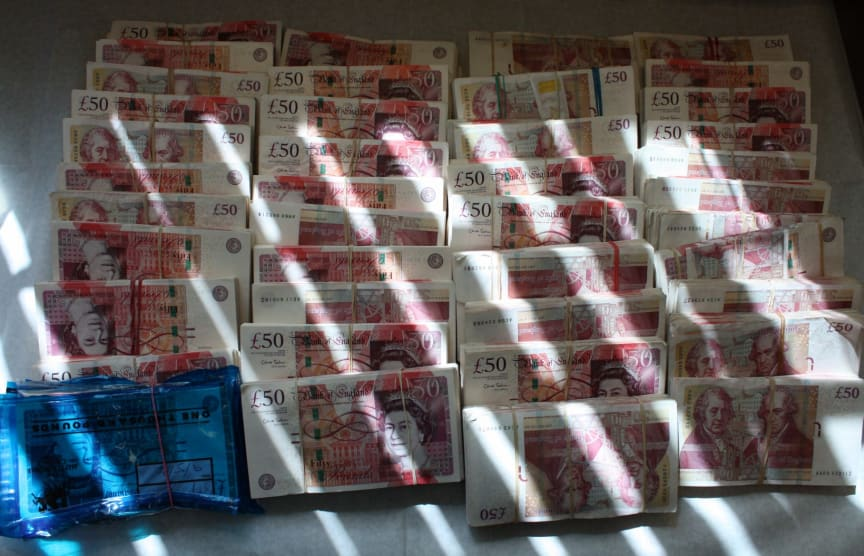 Some of the £370k cash seized from Berkshire-based gang
