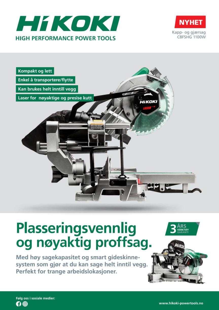 Nyhet! Kompakt og lett 216 mm elektrisk kapp-/gjærsag i proffkvalitet