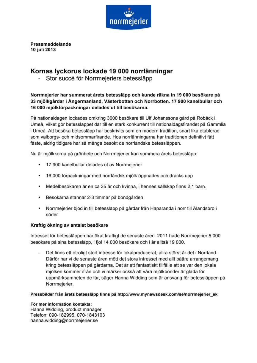 Kornas lyckorus lockade 19 000 norrlänningar  -Stor succé för Norrmejeriers betessläpp