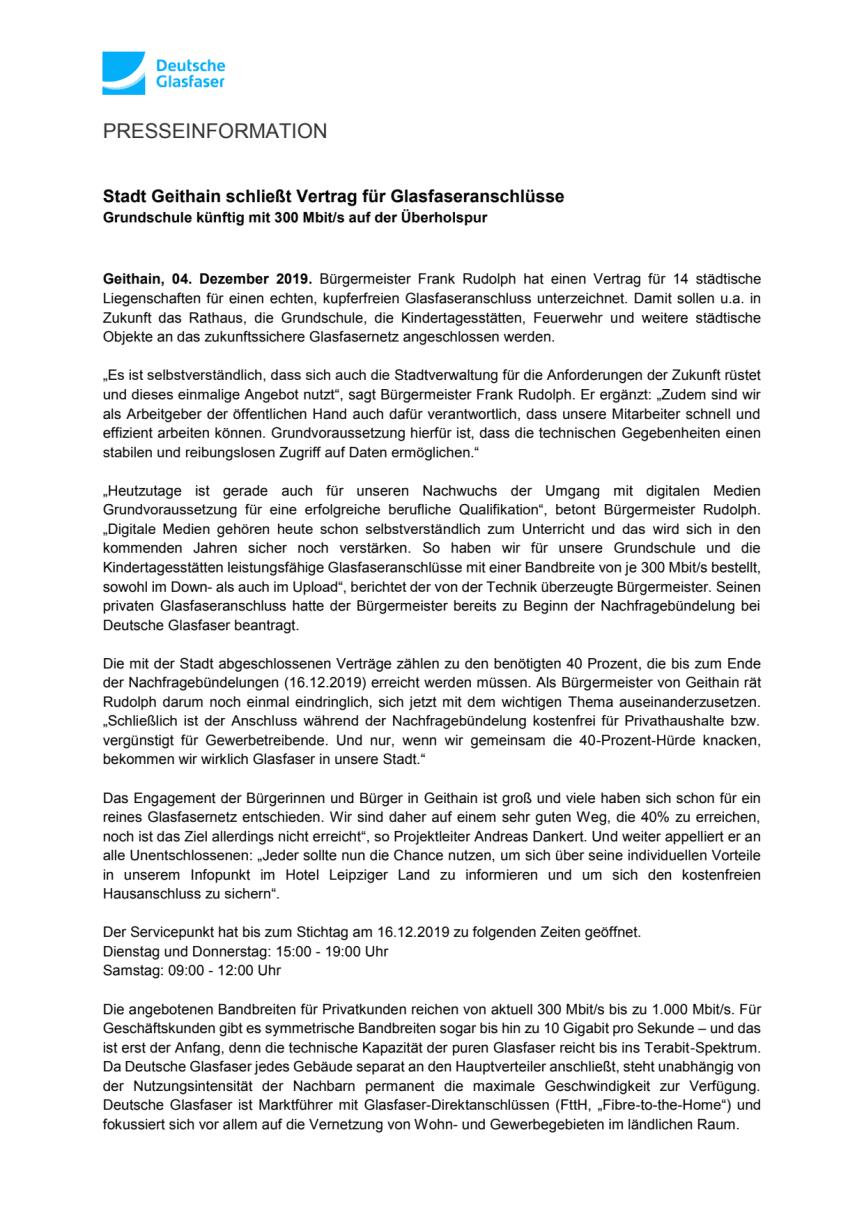 Stadt Geithain schließt Vertrag für Glasfaseranschlüsse