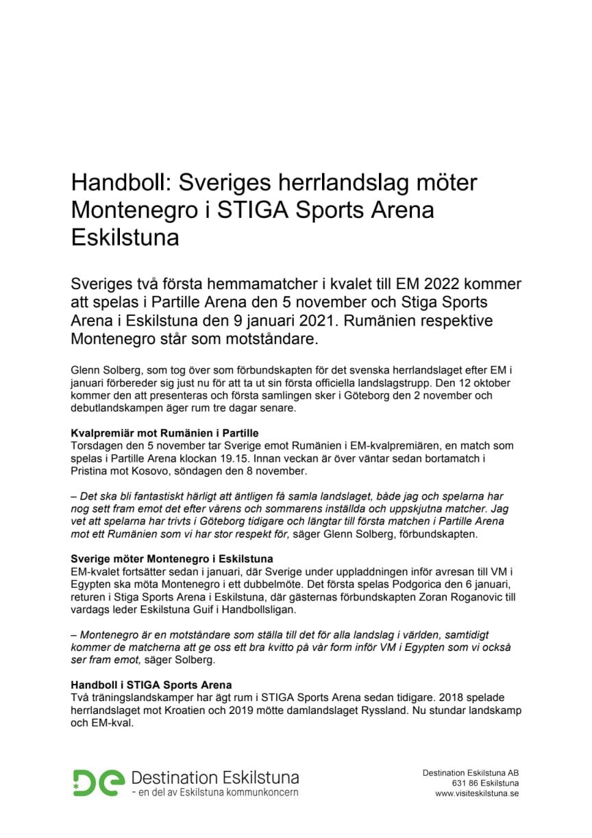 Handboll: Sveriges herrlandslag möter Montenegro i STIGA Sports Arena Eskilstuna