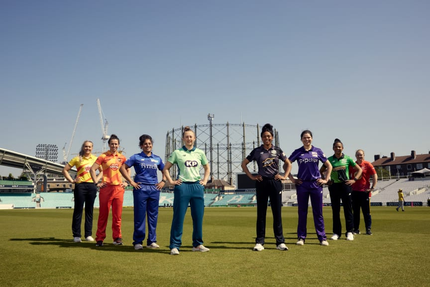 50 Days To Go. Players from all eight The Hundred teams pose together to mark 50 days to go until the competition starts.