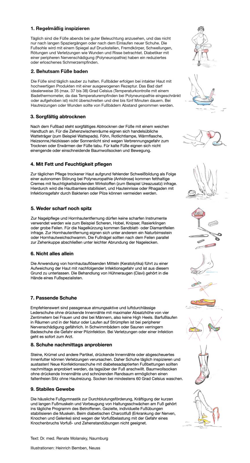 Grafik: Neun einfache Regeln zur Fußpflege für Diabetiker