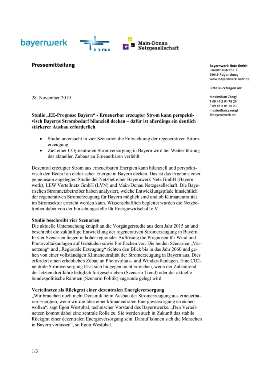 """Studie """"EE-Prognose Bayern"""" - Erneuerbar erzeugter Strom kann perspektivisch Bayerns Strombedarf bilanziell decken"""