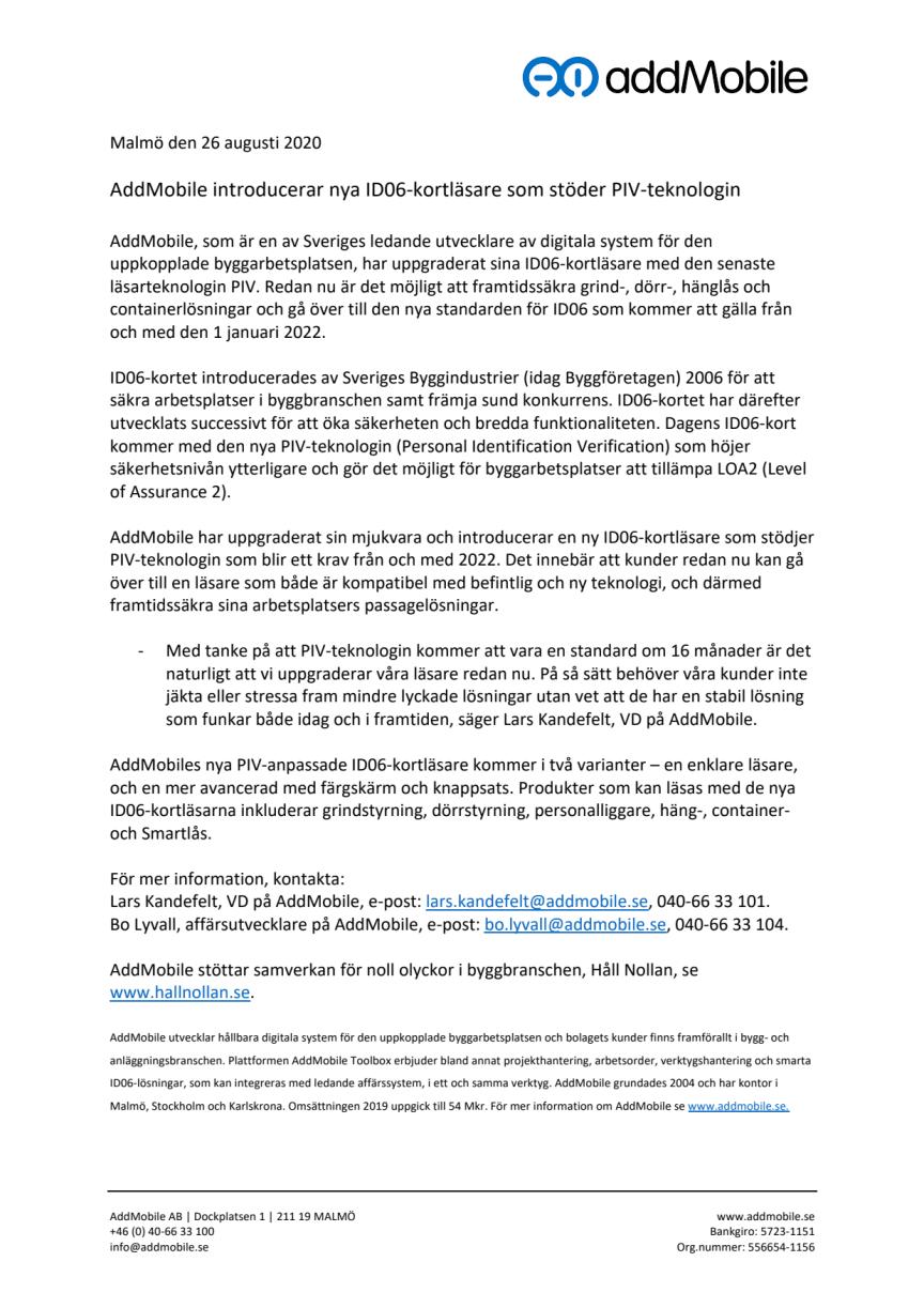 Pressmeddelande: AddMobile uppgraderar för anpassning till PIV