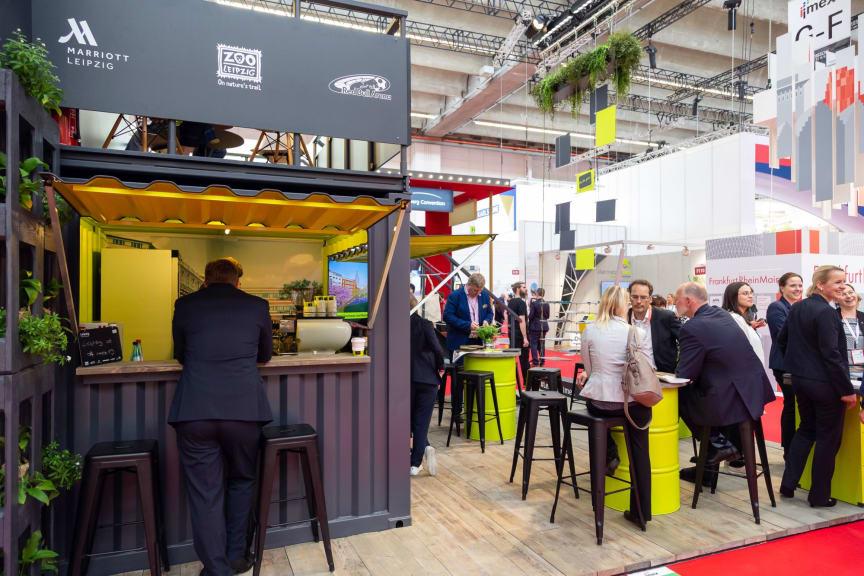 IMEX 2019: Kaffeeausschank am Leipzig-Stand