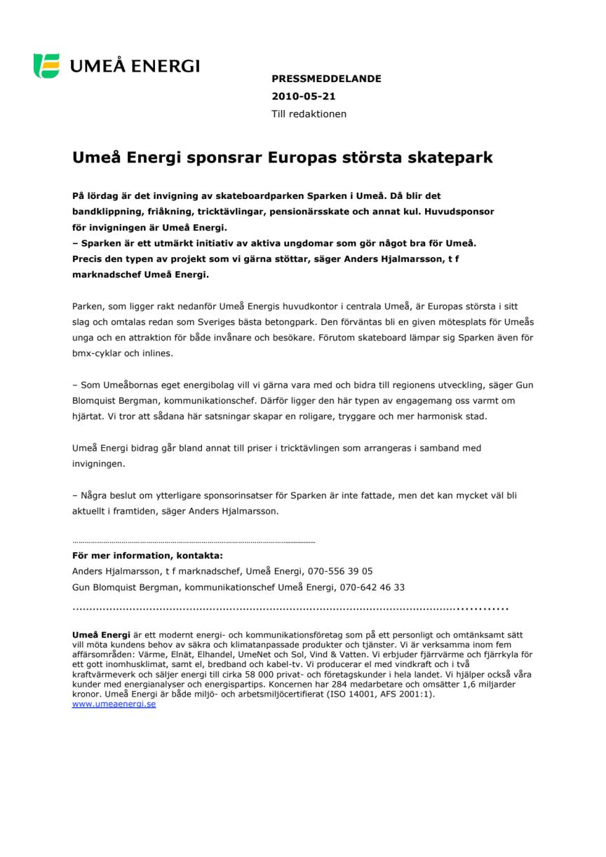Umeå Energi sponsrar Europas största skatepark