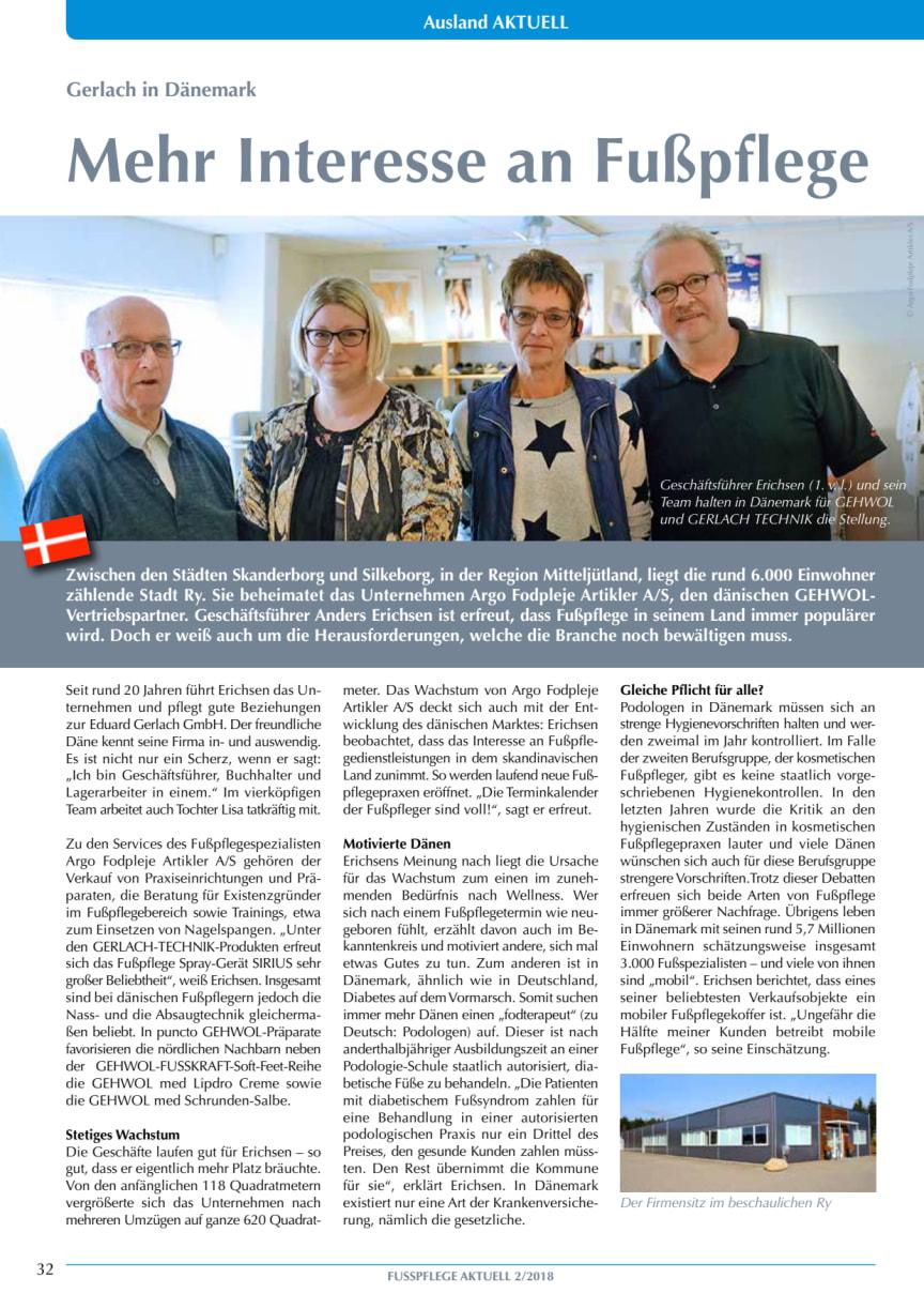 Gerlach in Dänemark: Mehr Interesse an Fußpflege