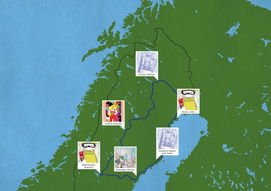 Världens längsta konstrunda – 160 mil runt Norrland_Karta över konstrundan. Foto Norrmejerier