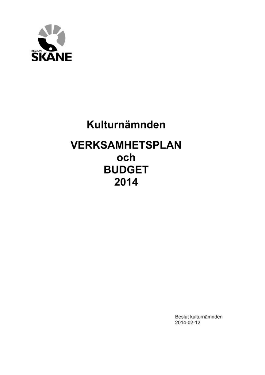 Kulturnämndens verksamhetsplan och budget 2014