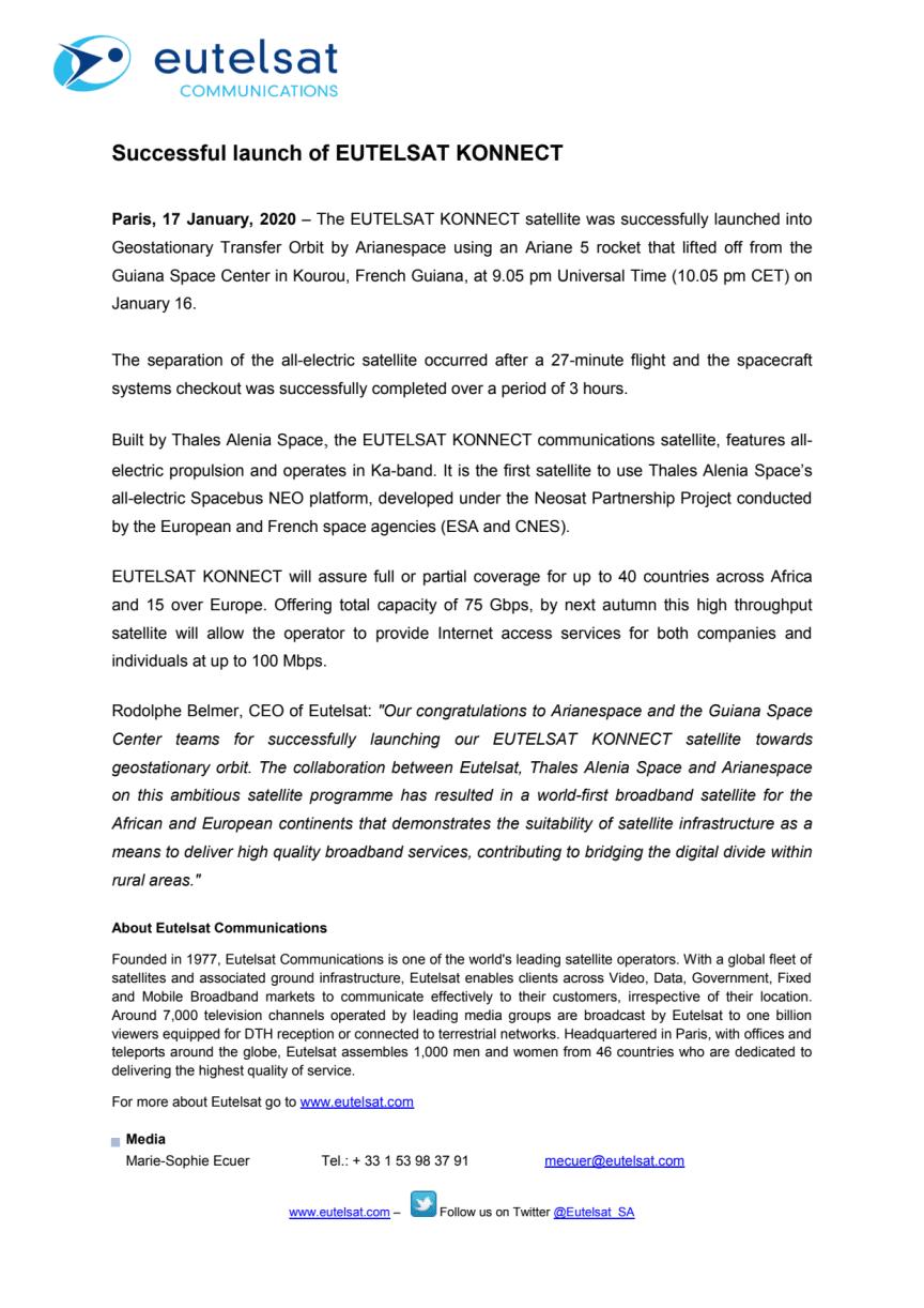 Successful launch of EUTELSAT KONNECT