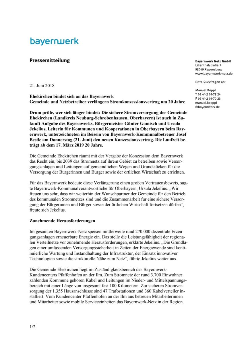 Ehekirchen bindet sich an das Bayernwerk