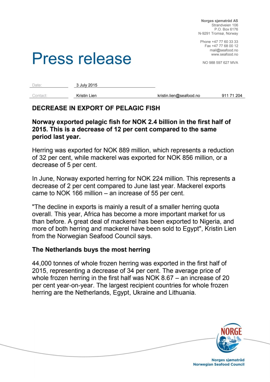 ​Decrease in export of pelagic fish