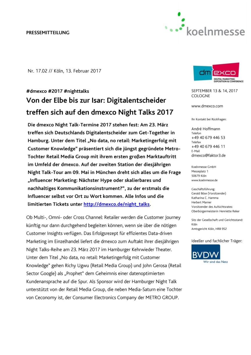 Von der Elbe bis zur Isar: Digitalentscheider treffen sich auf den dmexco Night Talks 2017