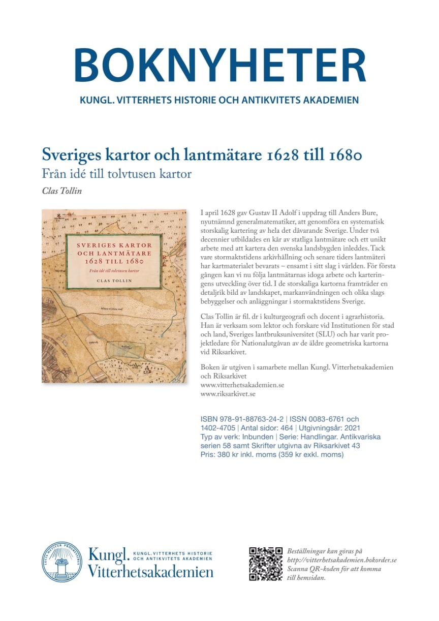 Boknyhet Sveriges kartor och lantmätare 1628 till 1680