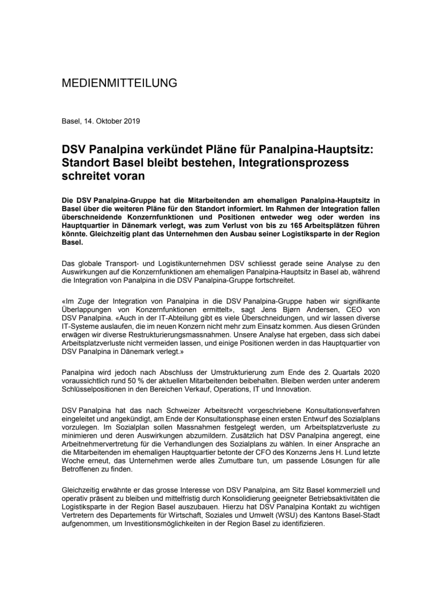 DSV verkündet Pläne für Panalpina-Hauptsitz