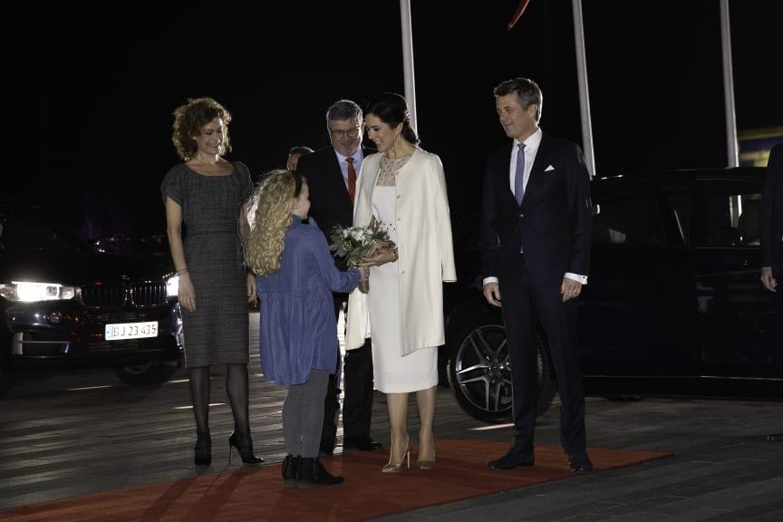 D.K.H. Kronprins Frederik og Kronprinsesse Mary ankommer til Musikkens Hus i Aalborg