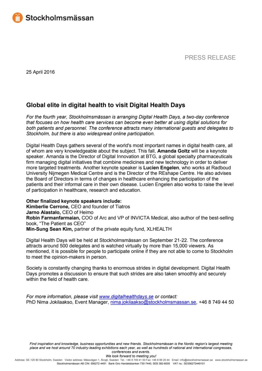 Global elite in digital health to visit Digital Health Days