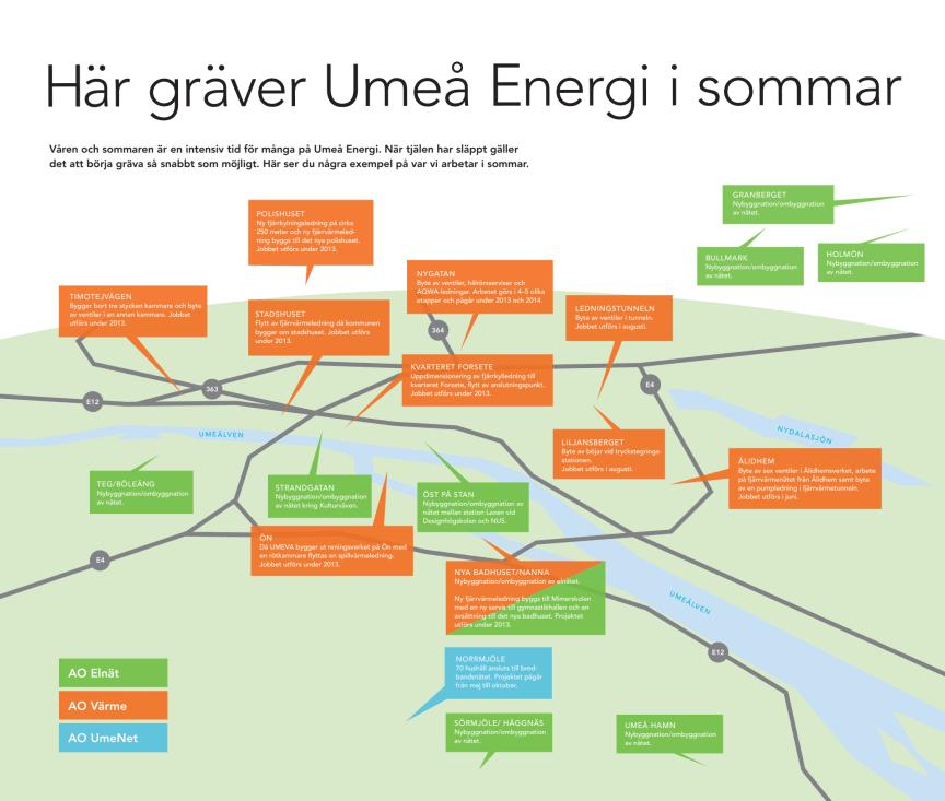 Här gräver Umeå Energi i sommar