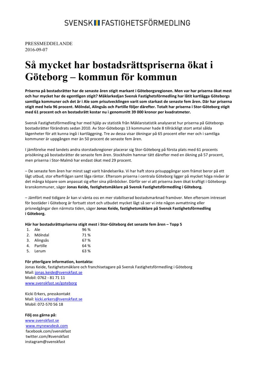 Så mycket har bostadsrättspriserna ökat i Göteborg – kommun för kommun