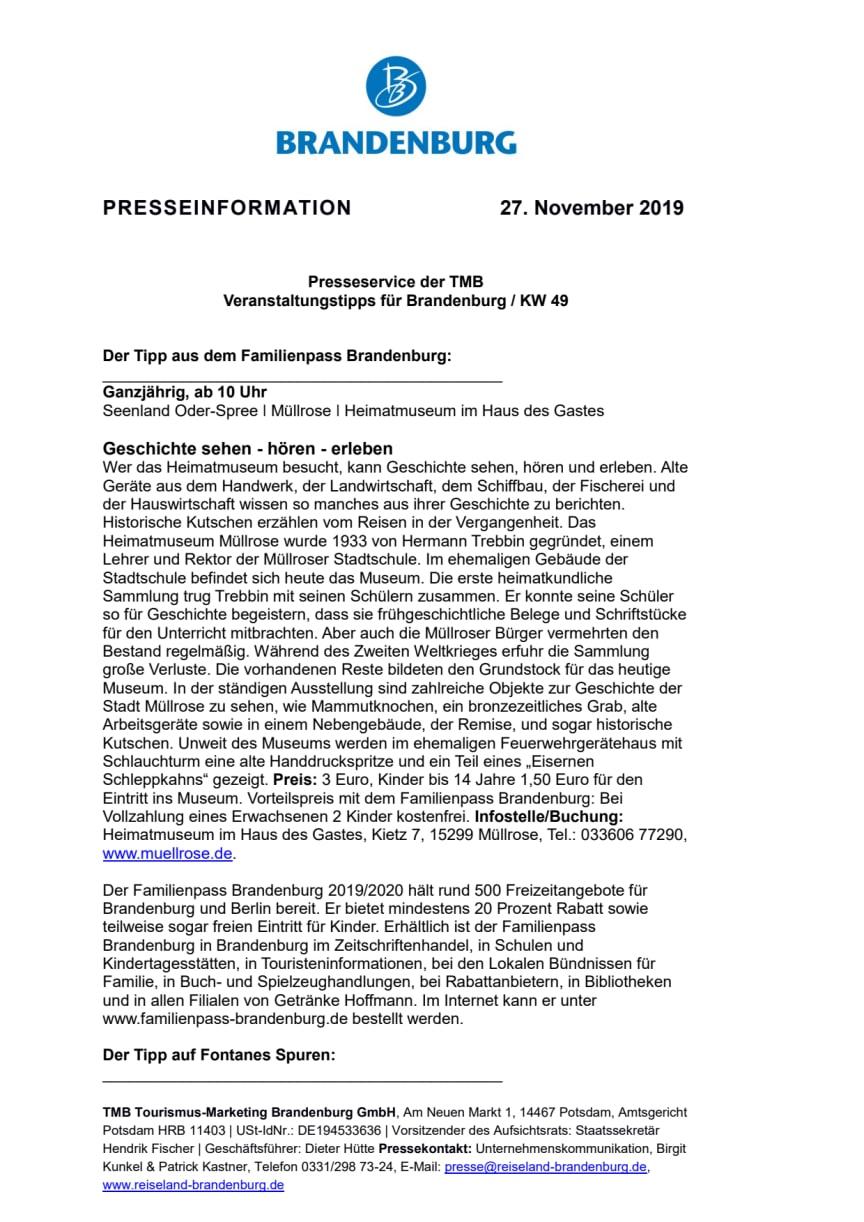 Veranstaltungstipps für Brandenburg / KW 49