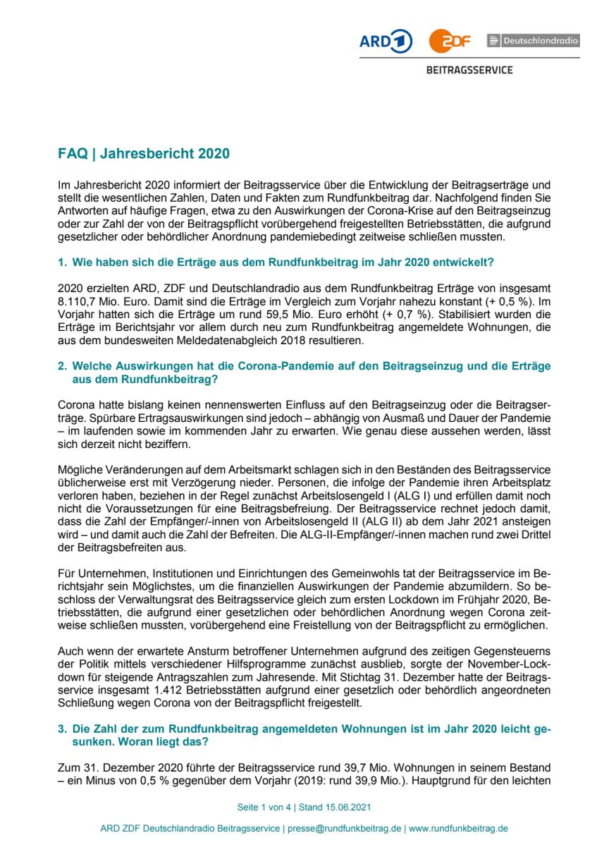 Fragen und Antworten zum Jahresbericht 2020