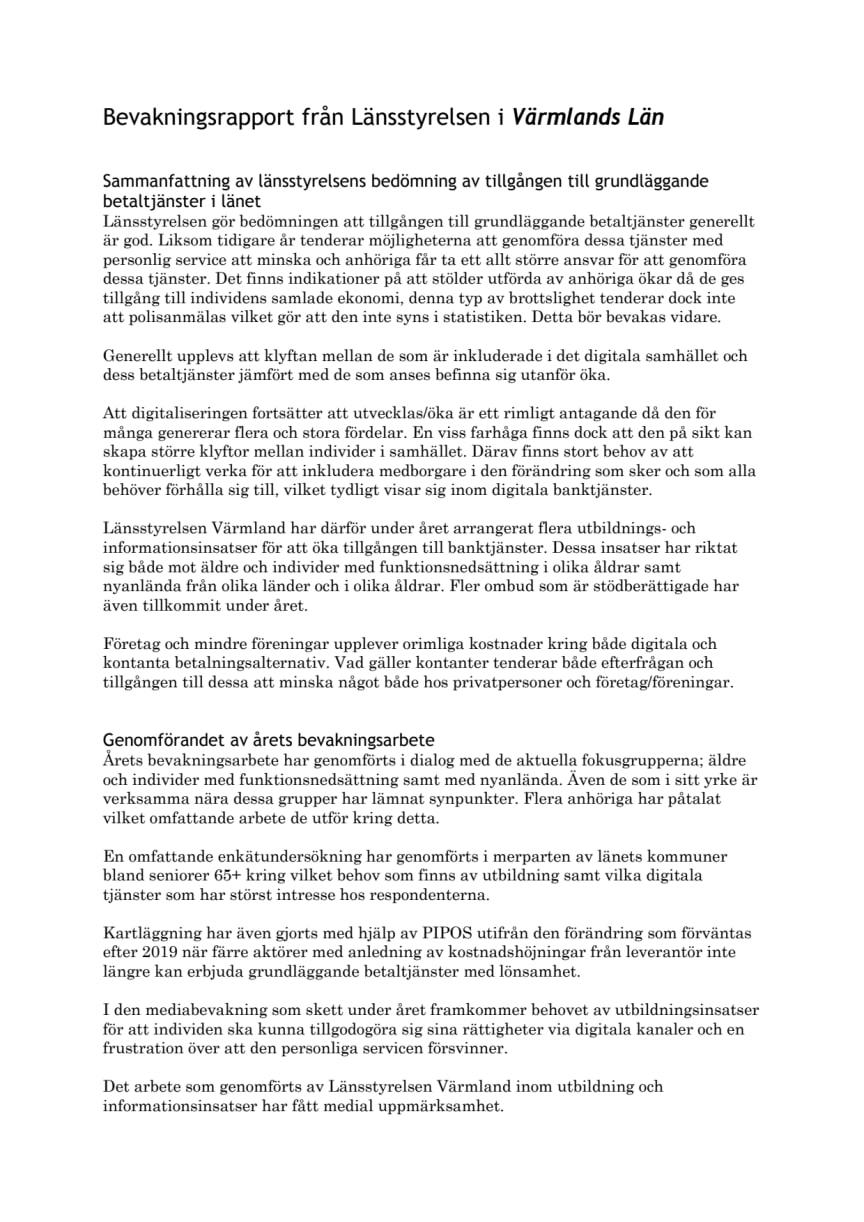 Bevakningsrapport Värmlands län 2019