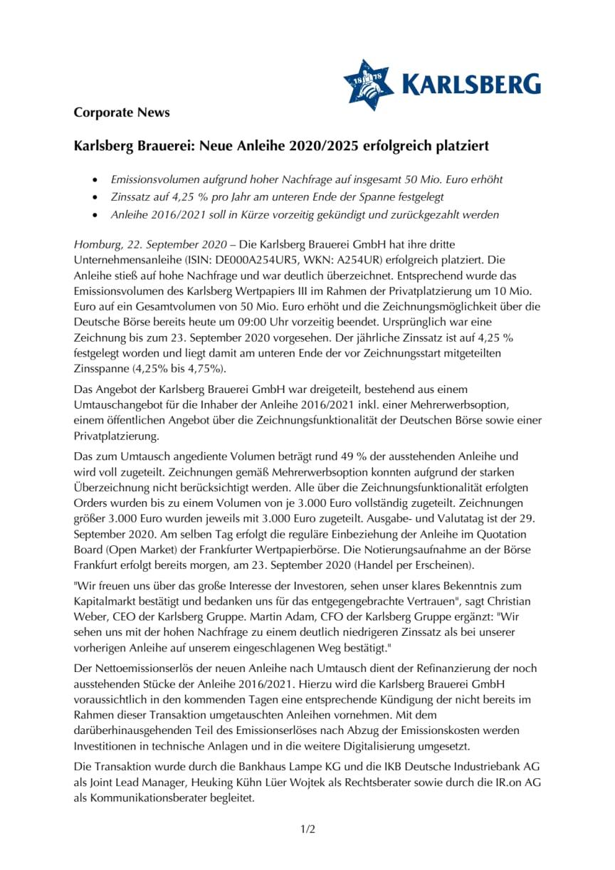 Karlsberg Brauerei: Neue Anleihe 2020/2025 erfolgreich platziert
