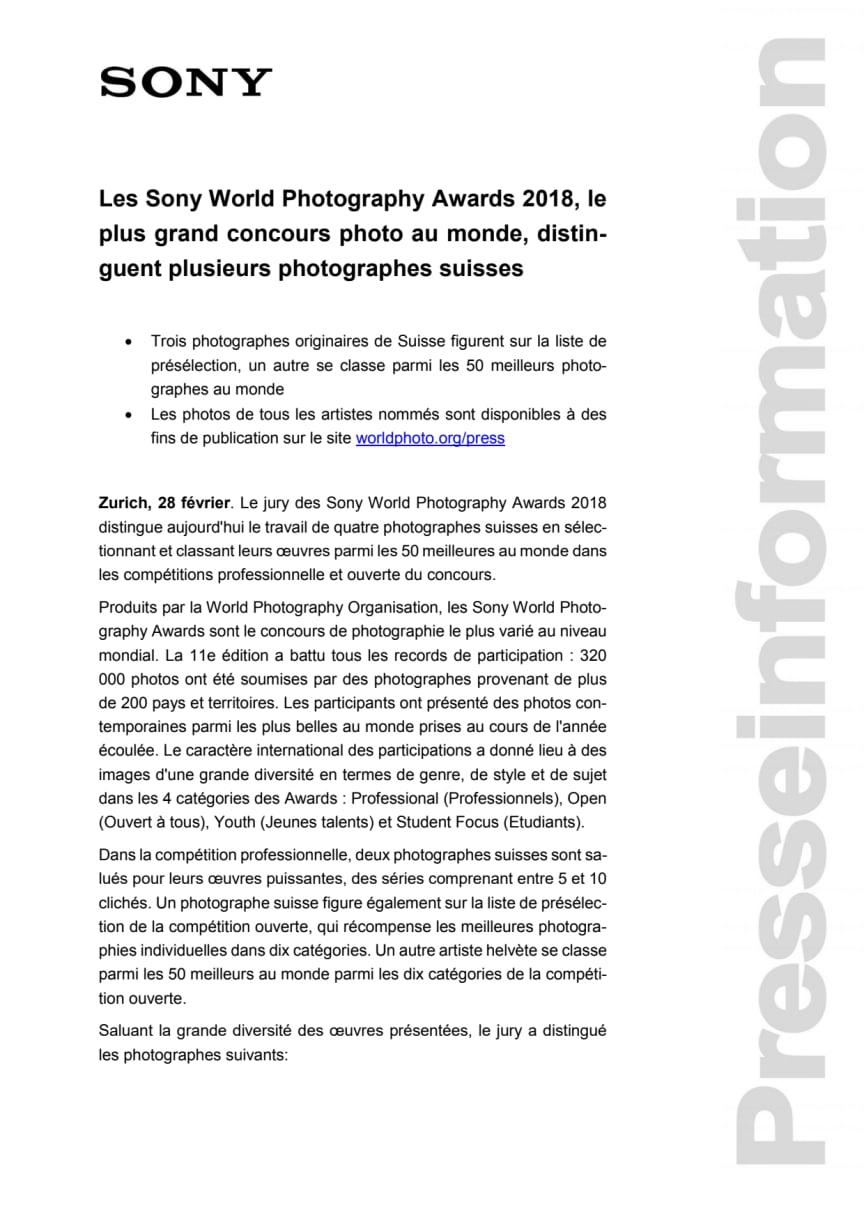 Les Sony World Photography Awards 2018, le plus grand concours photo au monde, distinguent plusieurs photographes suisses