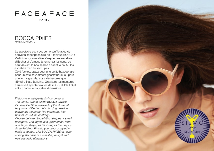 BOCCA PIXIES BY FACE A FACE NOMINATED FOR THE SILMO D OR 2020