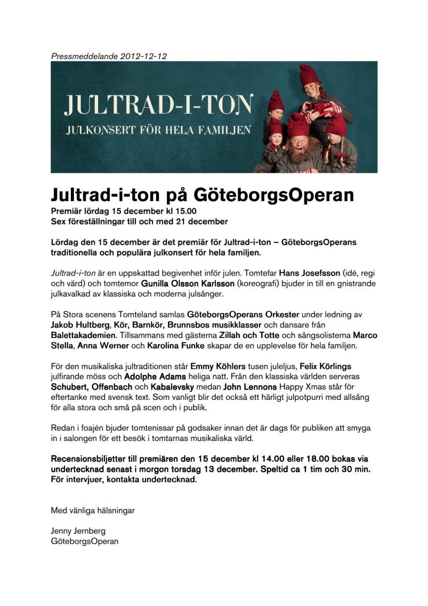 Jultrad-i-ton på GöteborgsOperan