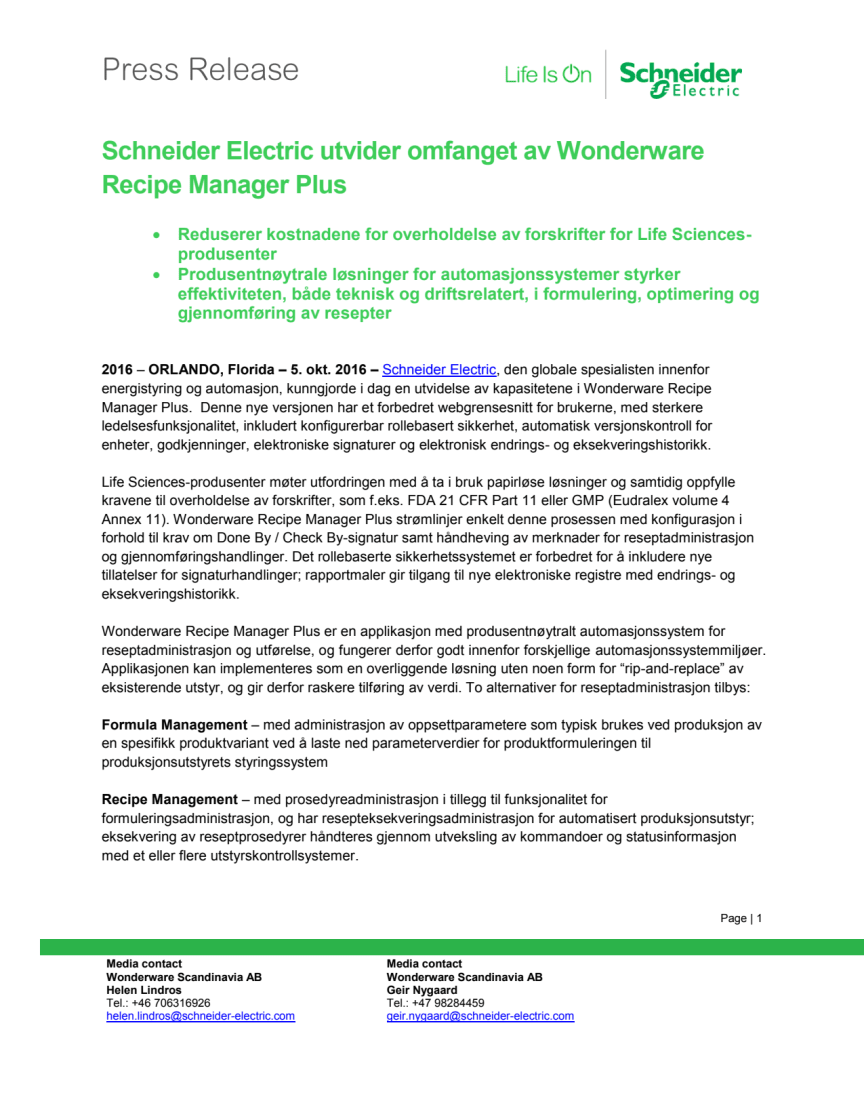 Schneider Electric utvider omfanget av Wonderware Recipe Manager Plus