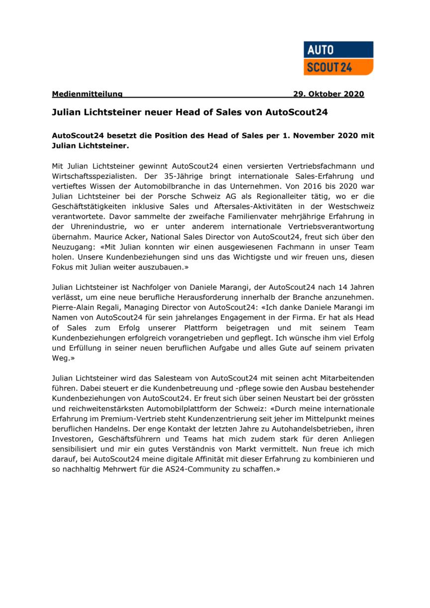 Medienmitteilung (PDF): Julian Lichtsteiner neuer Head of Sales AutoScout24
