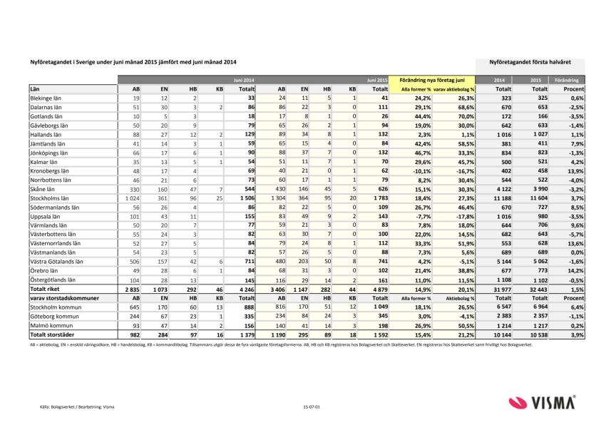 Vismas rapport för nyföretagandet (halvårsskiftet/juni 2015)