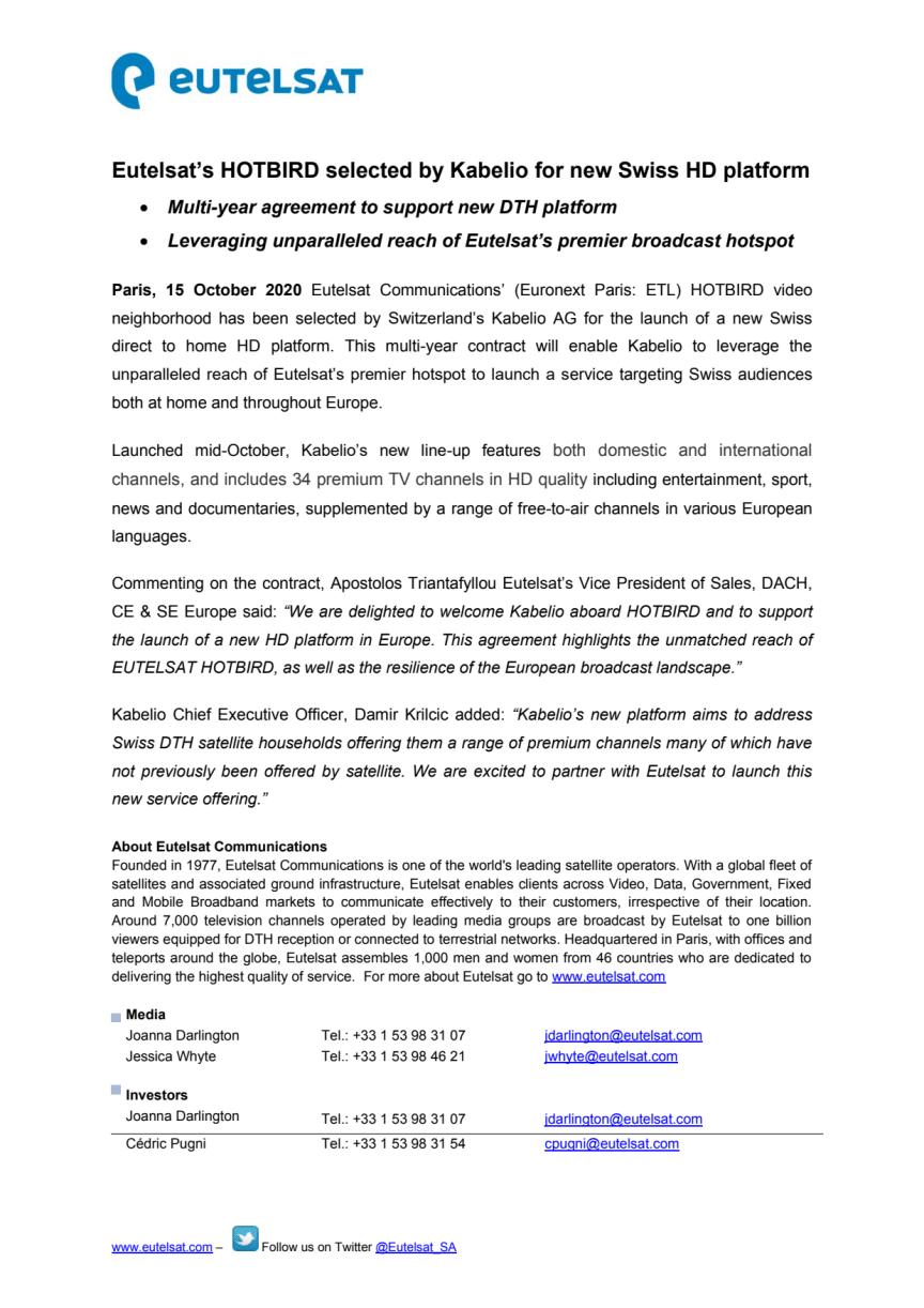 Eutelsat's HOTBIRD selected by Kabelio for new Swiss HD platform