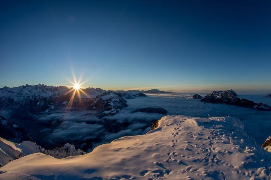 Sonnenuntergang Stoos Fronalpstock Winter