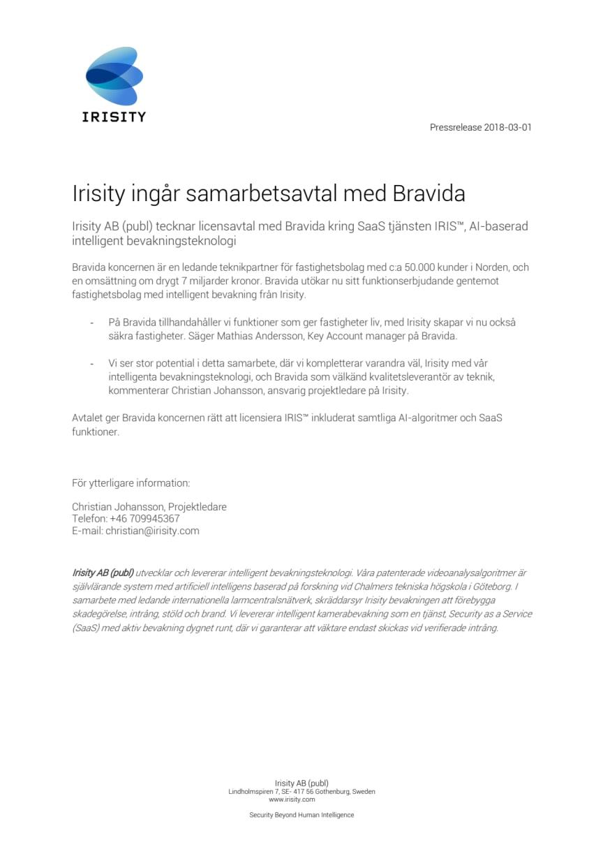 Irisity ingår samarbetsavtal med Bravida