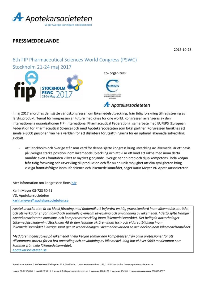 Apotekarsocieteten medarrangör för världskongress om läkemedelsutveckling 2017