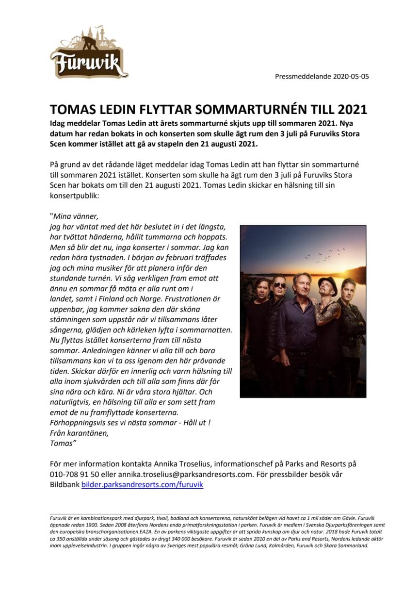 Tomas Ledin flyttar sommarturnén till 2021