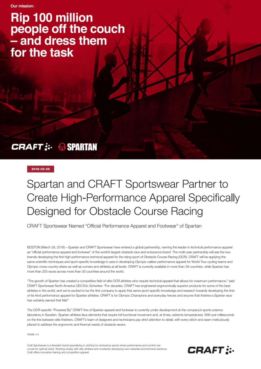 Spartan and CRAFT Sportswear Partner to Create High-Performance Apparel Specifically Designed for Obstacle Course Racing