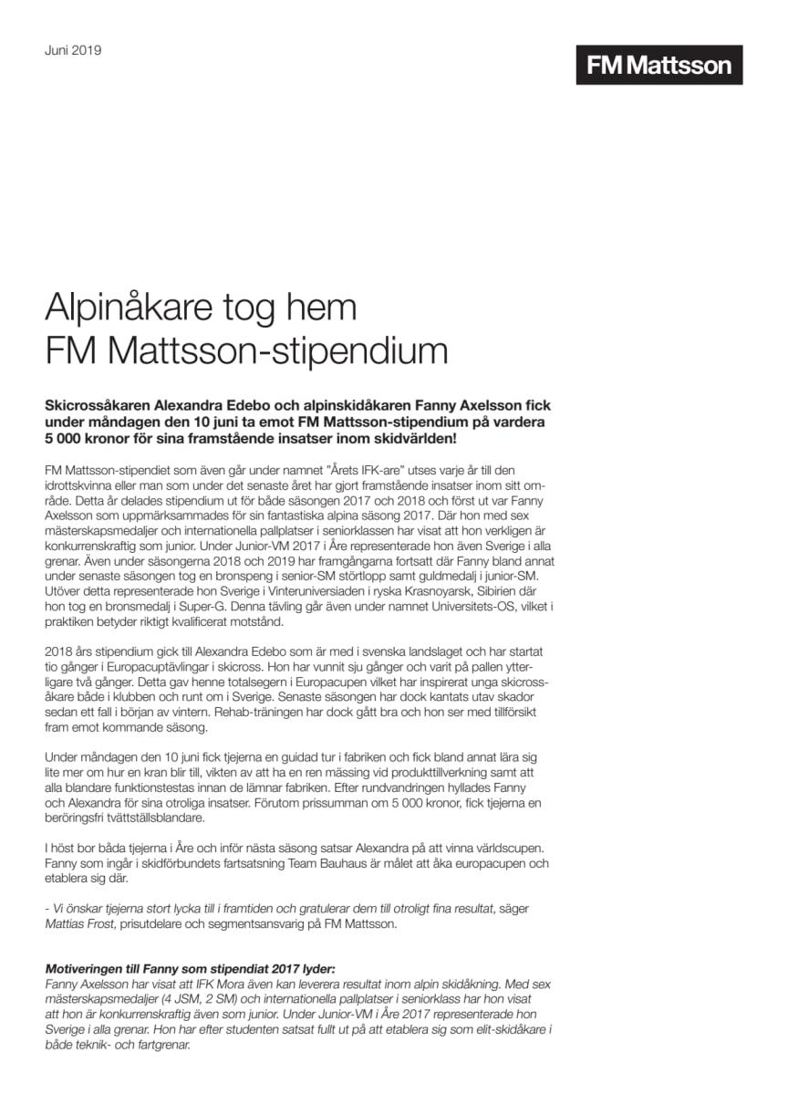 Alpinåkare tog hem FM Mattsson-stipendium