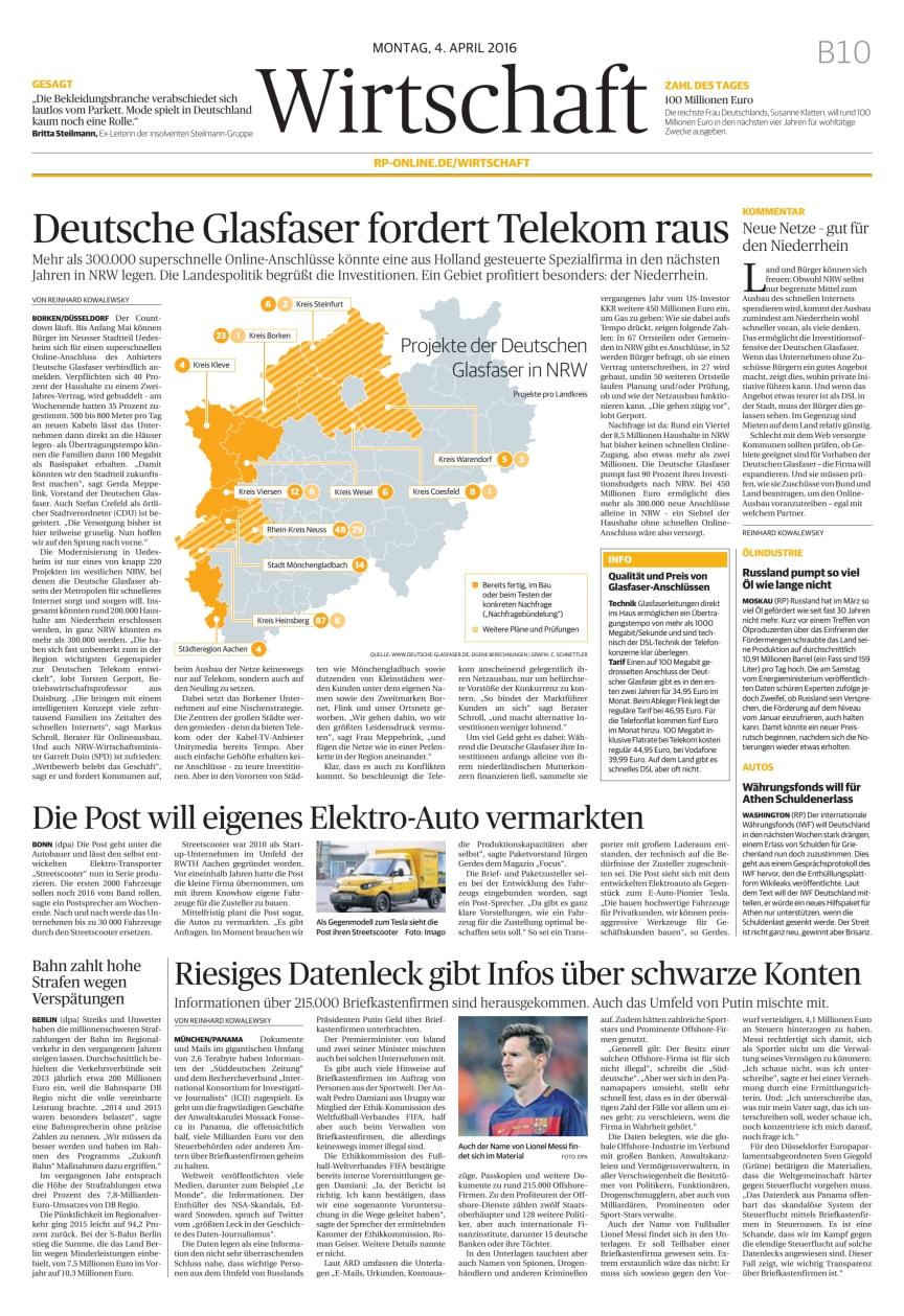 """""""Deutsche Glasfaser fordert Telekom raus"""" - Rheinische Post vom 4. April 2016"""