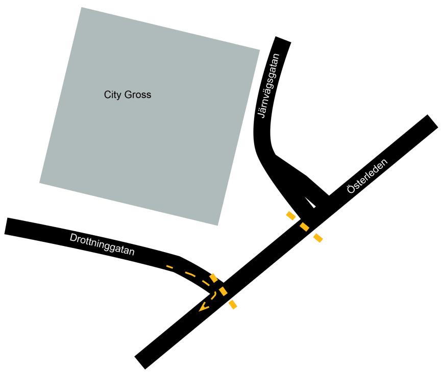 Det går att svänga höger från Drottninggatan ut på Österleden i Landskrona under tiden som VA-arbete pågår mellan den 6-10 mars.