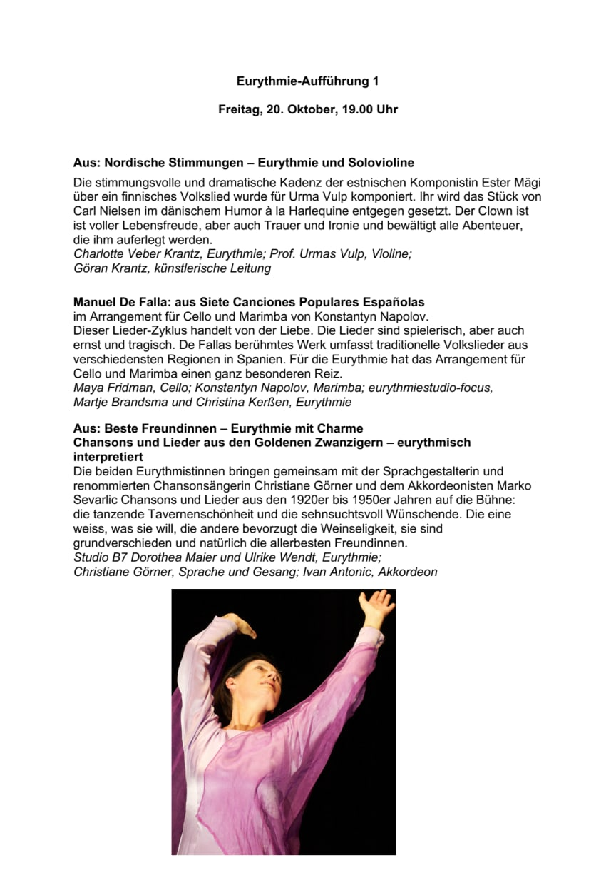Programm Eurythmie-Solo- und Duo-Festival
