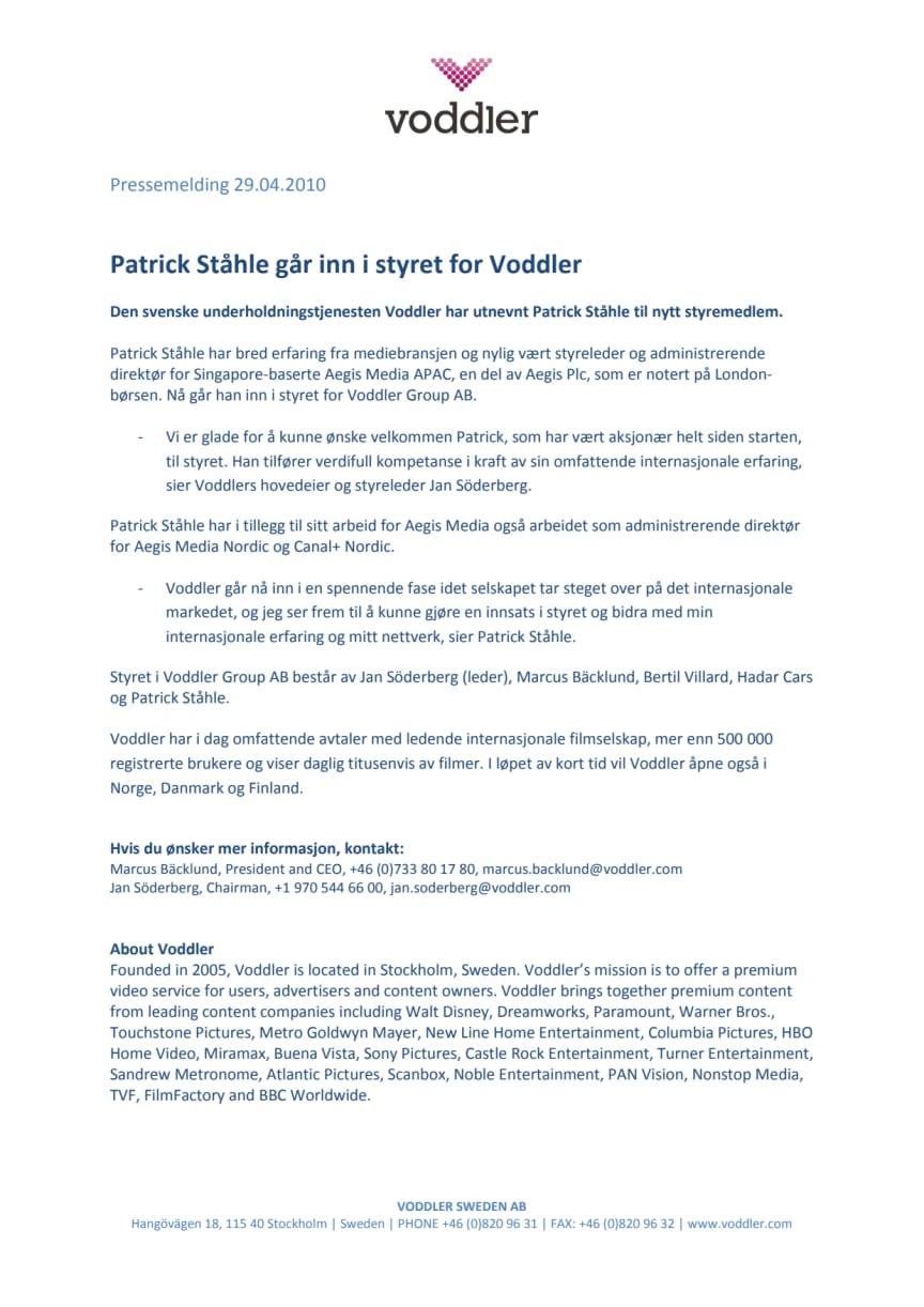 Patrick Ståhle går inn i styret for Voddler