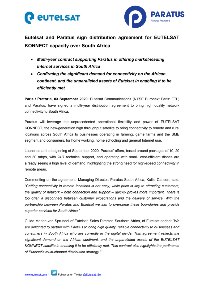 Eutelsat and Paratus sign distribution agreement for EUTELSAT KONNECT capacity over South Africa