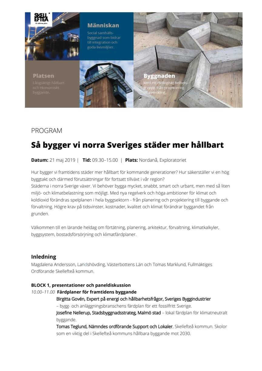 Program Så bygger vi norra Sveriges städer mer hållbart