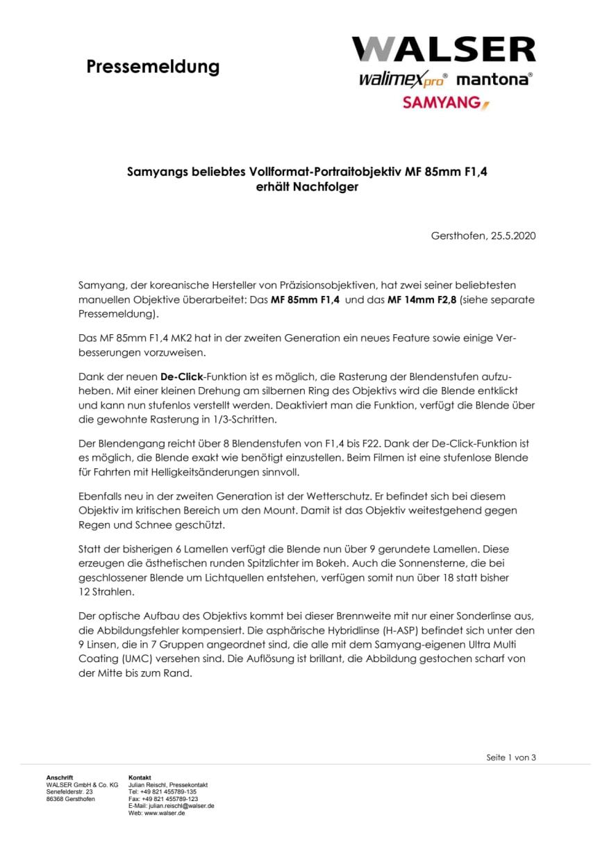 Samyangs beliebtes Vollformat-Portraitobjektiv MF 85mm F1,4 erhält Nachfolger