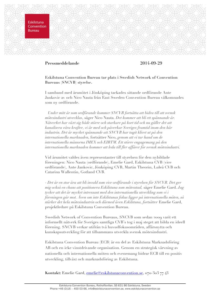 Eskilstuna Convention Bureau tar plats i Swedish Network of Convention Bureaus styrelse